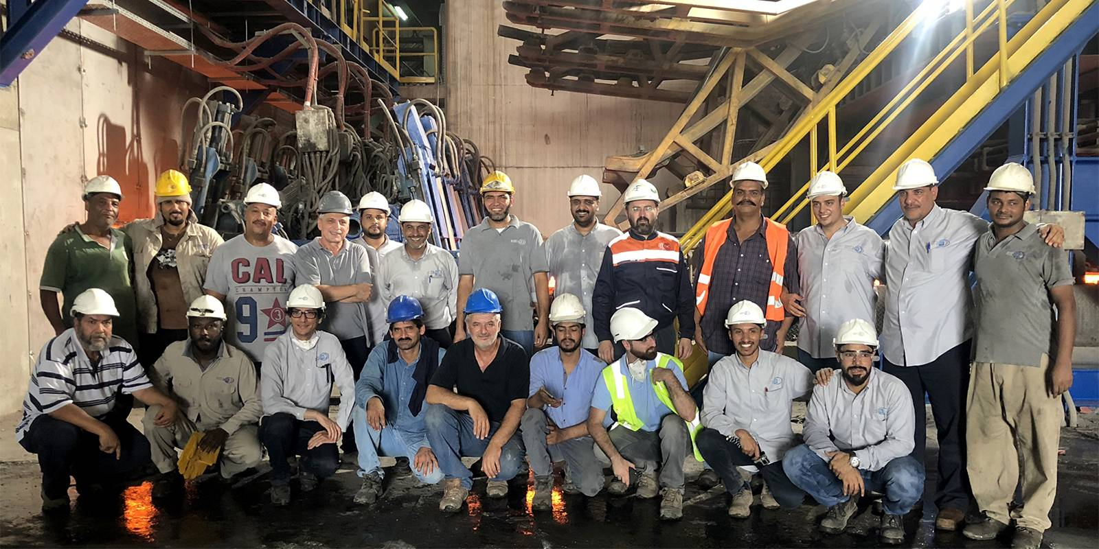Rajhi Steel and Danieli Service teams after successful restarting of a billet caster