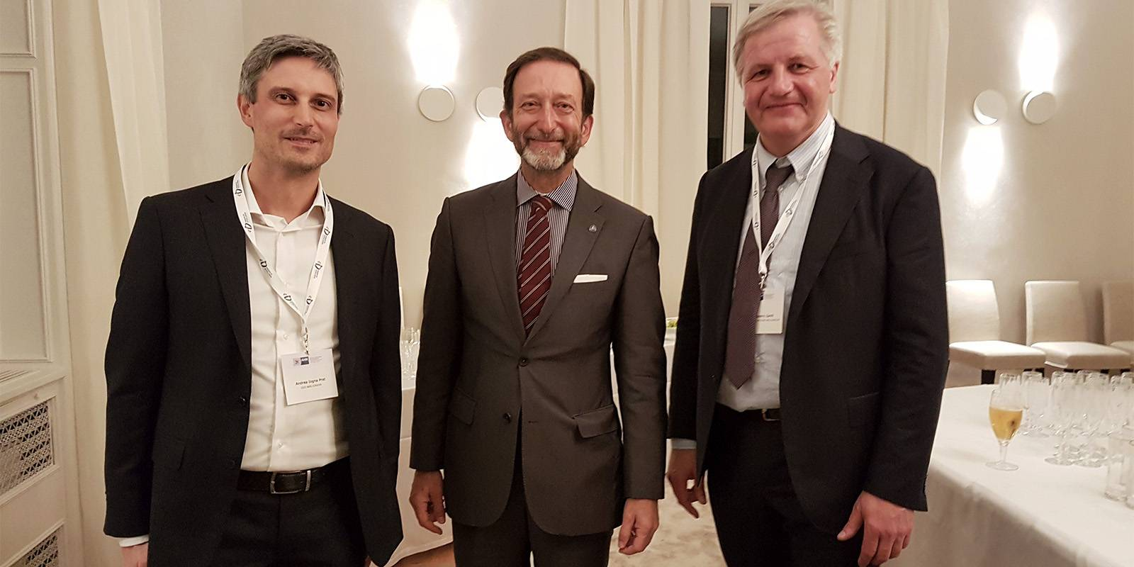 From left Andrea Iogna Prat, professor at Technical and Industrial Institute Malignani, Viktor Elbing, Germany's Ambassador to Italy and Giampietro Zamò, Work-Integrated Learning Officer, Danieli Academy